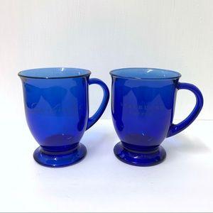 Starbucks Cobalt Blue Etched Glass Mugs